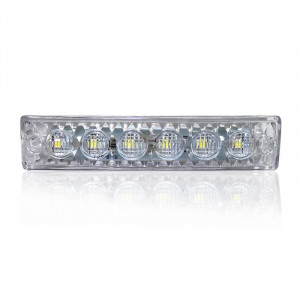 Feu position 6 LED blanc plat